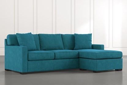 Taren II Teal Reversible Sofa/Chaise Sleeper W/Storage Ottoman .