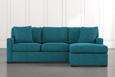 Taren II Teal Reversible Sofa/Chaise Sleeper with Storage Ottoman .