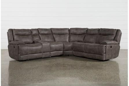 Taron 3 Piece Power Reclining Sectional With Left Facing Console .