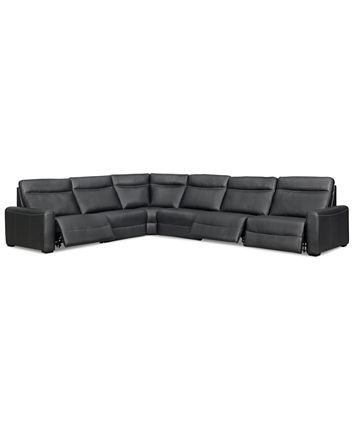 Furniture Marzia Leather Power Reclining Sectional & Sofa .