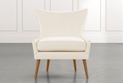 Tate II White Leather Accent Chair | Living Spac