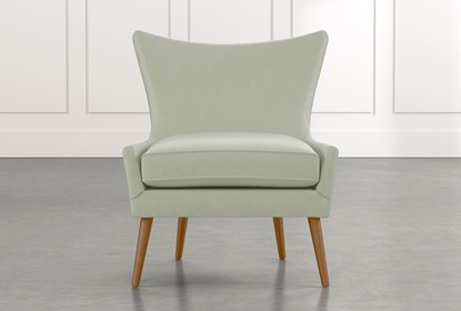 Tate II Light Green Leather Accent Chair | Living Spac