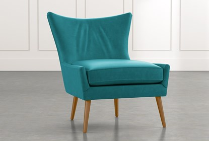 Tate II Teal Leather Accent Chair | Living Spac
