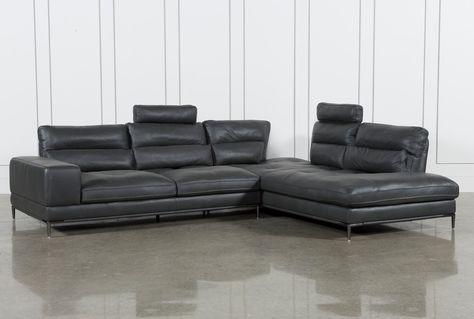 Tenny Dark Grey 2 Piece Right Facing Chaise Sectional W/2 Headrest .