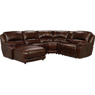 Marco Genuine Leather 7-Piece Sectional– Chocolate | The Brick .
