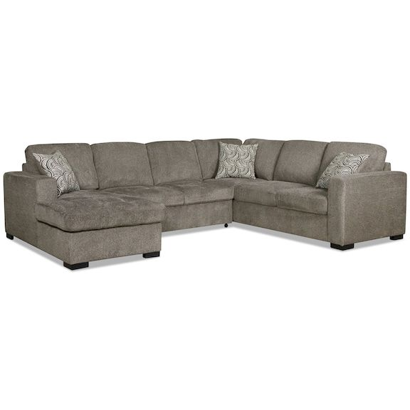 Living Room Furniture - Izzy 3-Piece Chenille Left-Facing .