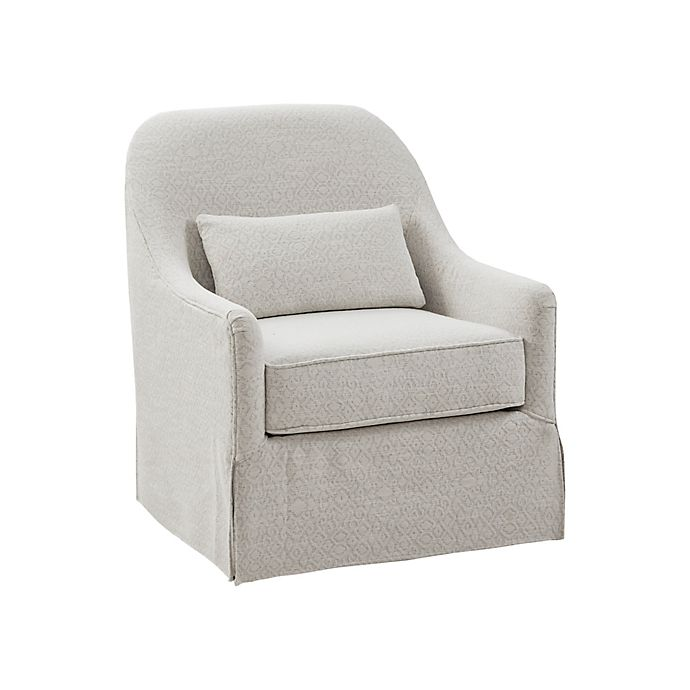 Madison Park Theo Swivel Glider Chair in Ivory/Black | Bed Bath .
