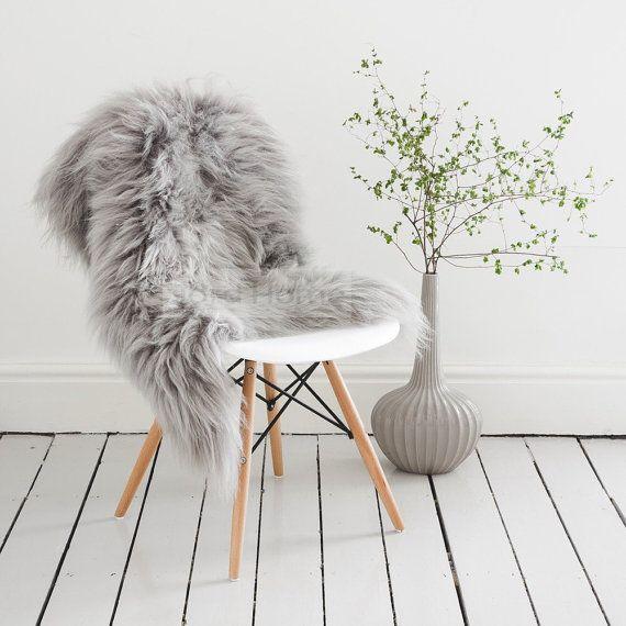 Grey/Gray Sheepskin Throw & Rug / Icelandic Longhair Rarebreed .