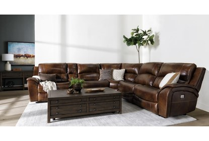 Travis Cognac Leather 6 Piece Power Reclining Sectional With Power .
