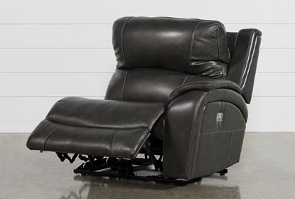 Travis Dark Grey Leather Right Arm Facing Power Recliner W/Power .