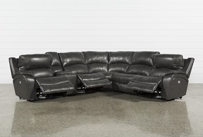 Travis Dark Grey Leather 6 Piece Power Reclining Sectional With .