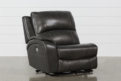 Travis Dark Grey Leather Laf Power Recliner W/Power Headrest And .