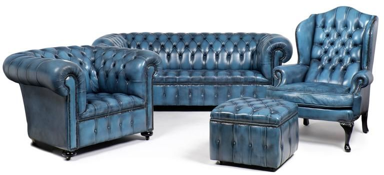 Blue Chesterfield Sofa | Blue chesterfield sofa, Leather sofa .