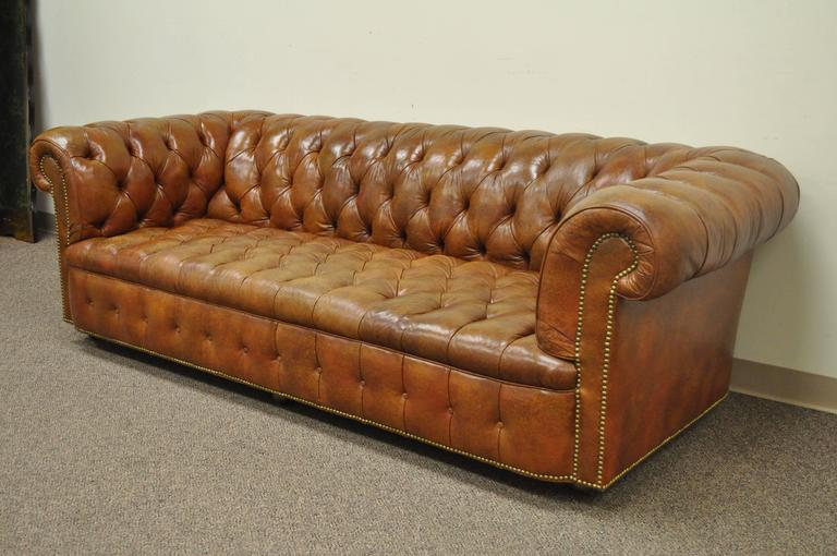 Henredon Rolled Arm English Style Button Tufted Brown Leather .