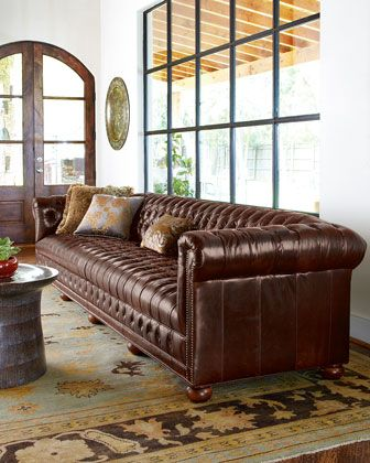 Extra long tufted leather sofa. | Furniture design, Old hickory .