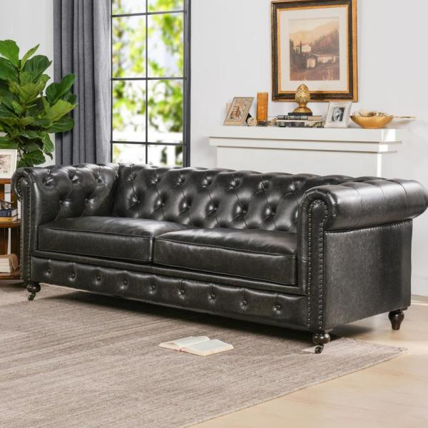 Jennifer Taylor Home Winston Leather Tufted Chesterfield Sofa .