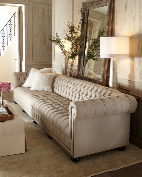 Old Hickory Tannery Hudson Tufted-Linen Sofa, 131
