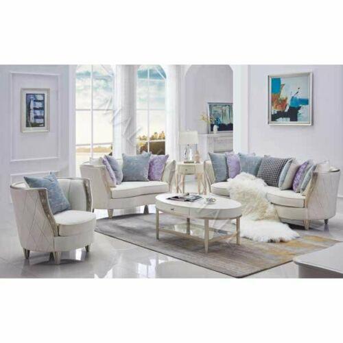 Soft Rose Gold Diamond Tufted Exterior Natural Linen Sofa Set with .