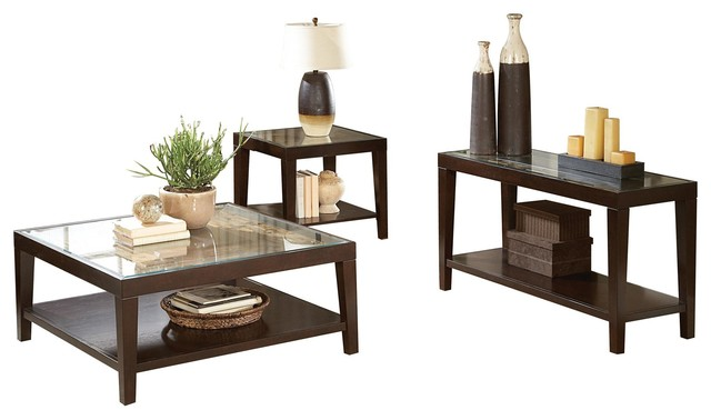 3-Piece Valencia Cocktail Table, 1 End Table, Sofa Table w Glass .