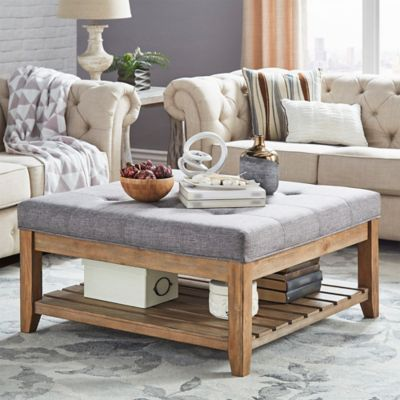 Verona Home April Tufted Top Cocktail Table In Grey | Upholstered .