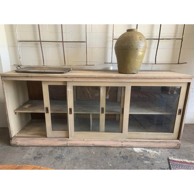 Vintage Rustic Wood Credenza With Sliding Glass Doors | Chairi