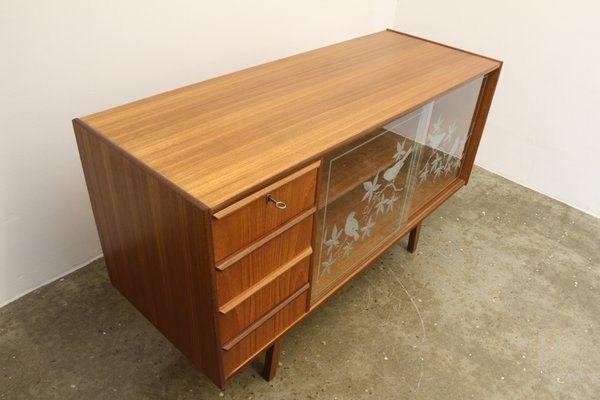 Vintage Danish Teak Sideboard with Glass Doors, 1950s for sale at .