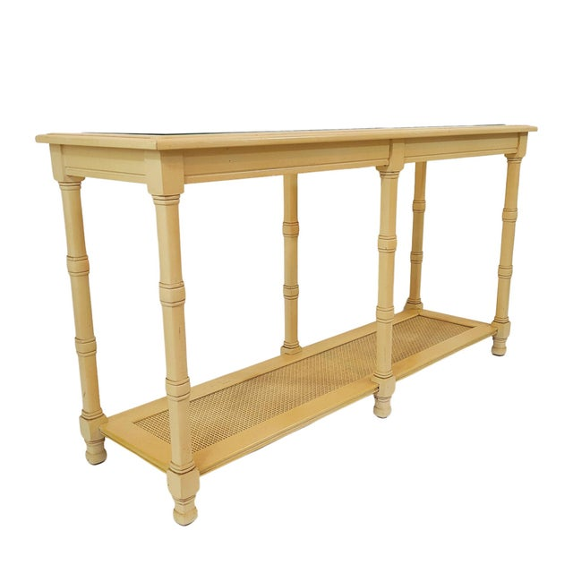 Vintage Faux Bamboo 6 Legged Console Table With Glass Inserts and .