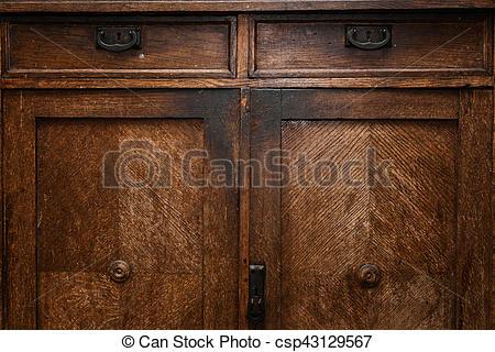 Old vintage wooden sideboard. antique furniture closeup .