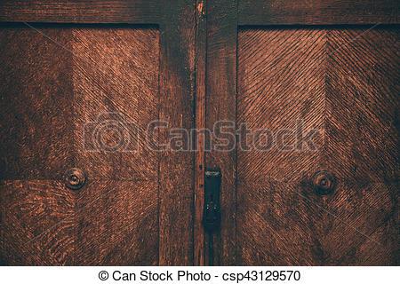 Door old vintage sideboard. texture closeup of natural wood furnitur