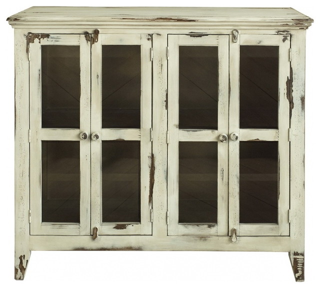 Bayshore Distressed Vanilla Finish Solid Wood 4-Door Sideboard .