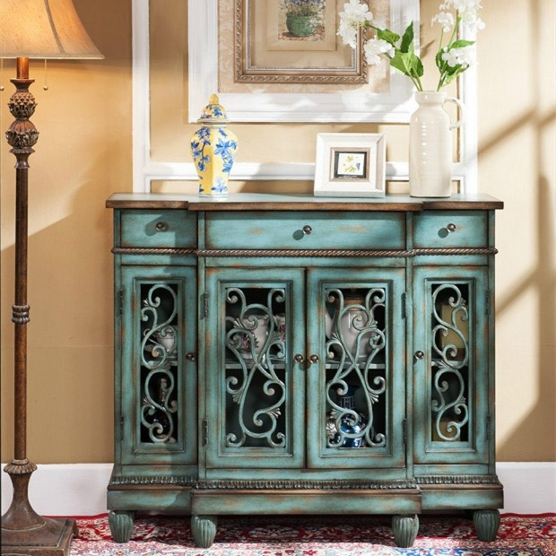 Farmhouse Vintage 4-Door Buffet Cabinet 3 Drawer Included Kitchen .