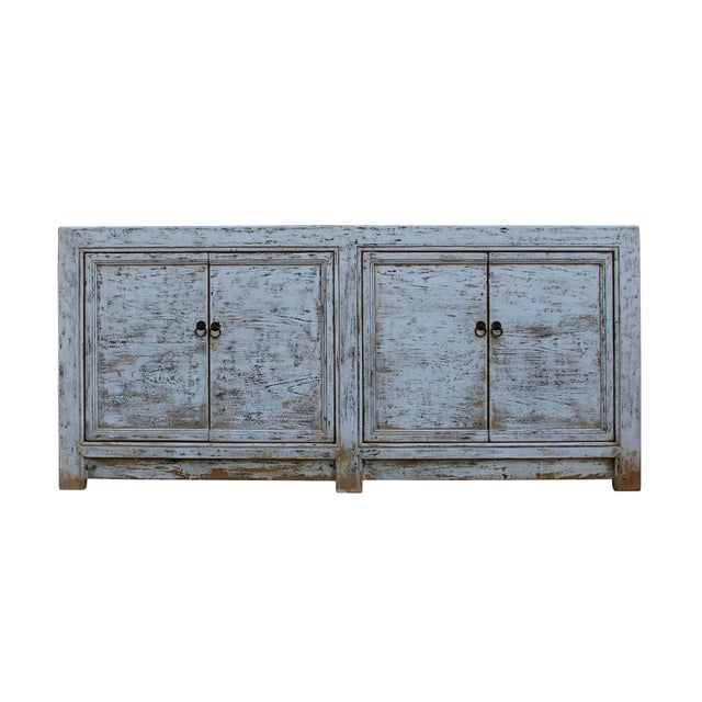 Chinese Distressed Rough Off White 4 Doors Sideboard Table Cabinet .