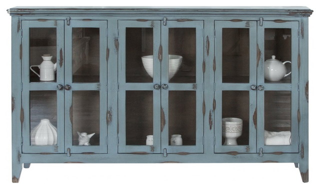 Bayshore Distressed Blue Finish Solid Wood 6-Door Sideboard China .
