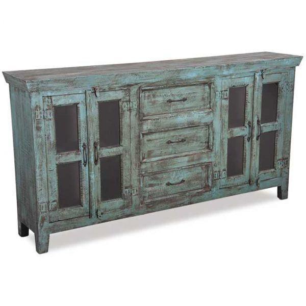 Vintage 4 Door Sideboard in Washed Blue (With images) | Vintage .