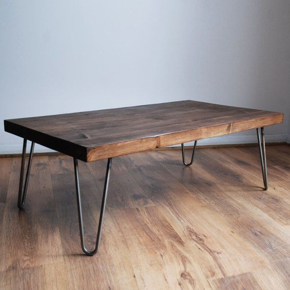 Rustic Vintage Industrial Solid Wood Coffee Table-Bare Metal .