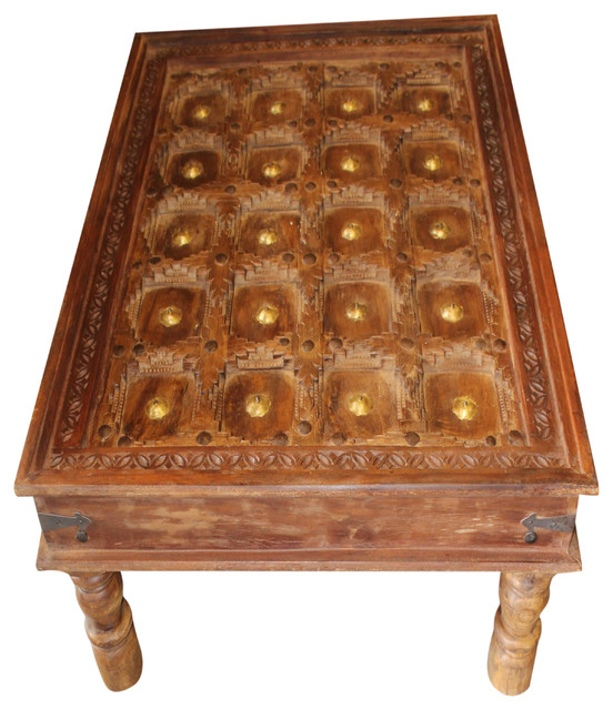 Consigned Antique Rustic Coffee Table Reclaimed Brass Stars Solid .
