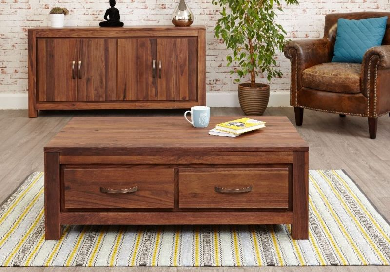 Baumhaus Mayan Walnut Coffee Table - Low 4 Drawer #CoffeeTable .