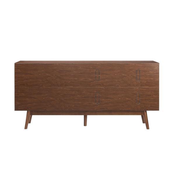 Welwick Designs Walnut 70 in. Mid-century Modern 3-Drawer and 2 .