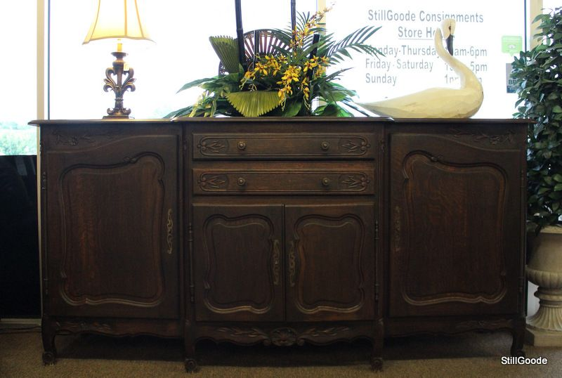 Large tiger oak French Country style sideboard buffet in a dark .