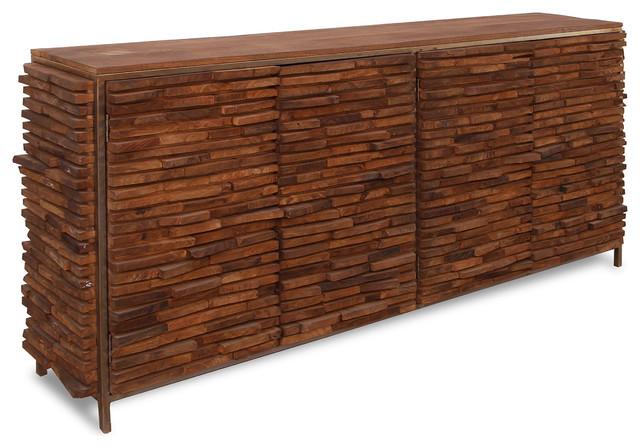 Bradford 4-Door Stacked Wood Cabinet, Grey/Walnut Finish - Rustic .