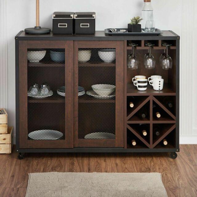 Walnut Burl/Silver 4-Door Buffet Sideboard Server for sale online .