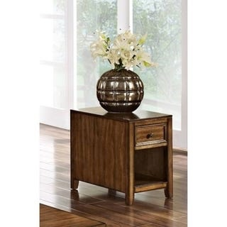Shop Contempo Burnished Walnut Chairside Table - Free Shipping .