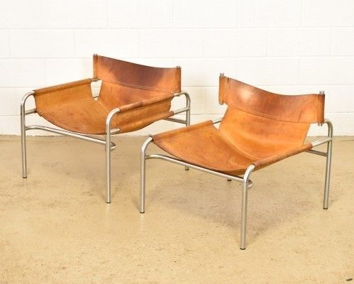 Cognac saddle leather Model 250 lounge chair by Walter Antonis .