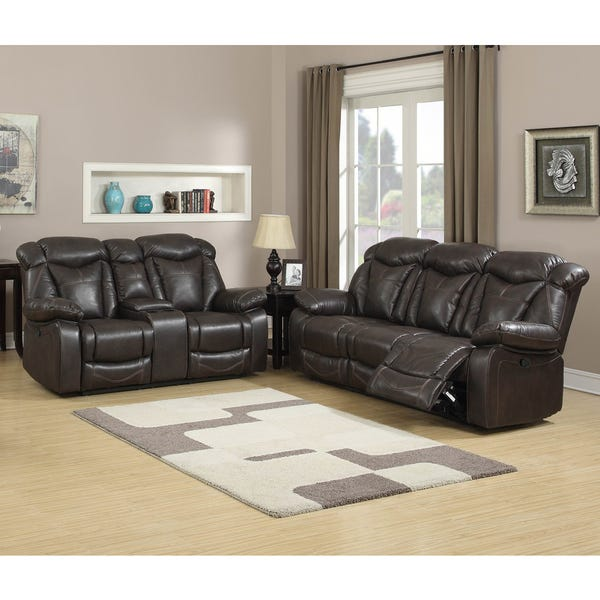 Shop Walter Dark Brown Leather Reclining Sofa and Loveseat (Set of .