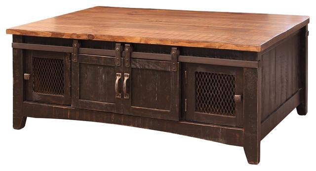 Greenview Black Solid Pine Coffee Table, Mash Doors - Rustic .