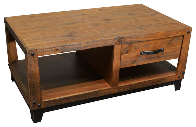 Rustic Farmhouse Style Solid Wood Coffee Table With 1-Drawer .
