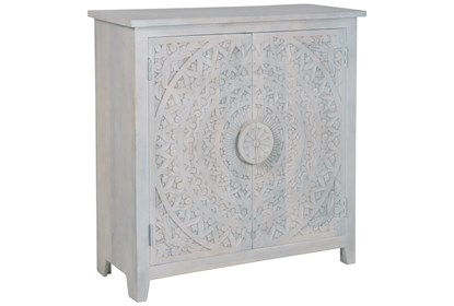Hand Carved White Wash 2 Door Sideboard | Living Spac