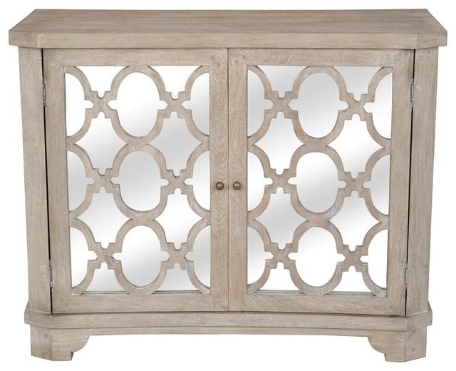 Lattice Whitewash 2 Door Mirrored Wood Small Sideboard .