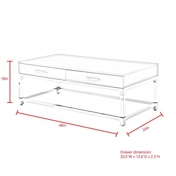 Inspired Home Caspian White/Gold Coffee Table with High Gloss .