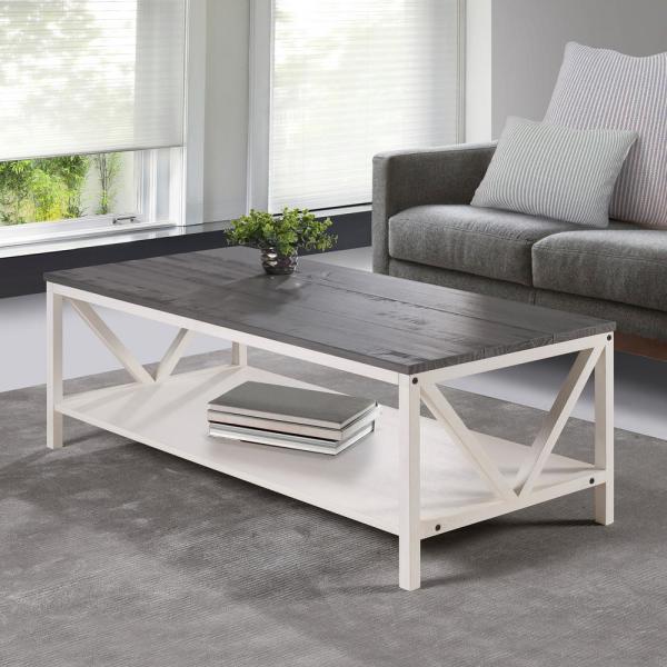 Welwick Designs Grey/White Wash Distressed Farmhouse Coffee Table .